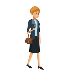 Woman elegant suit and handbag vector