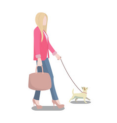 Woman walking her dog poster vector