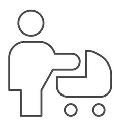 Woman with stroller thin line icon mother with vector