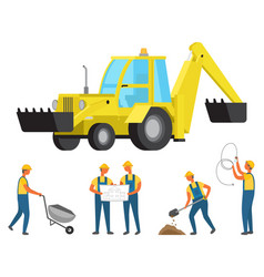 Workers on construction engineers and workmen vector