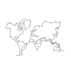 world atlas continuous one line drawing world vector image