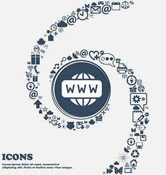 Www icon in the center around the many beautiful vector