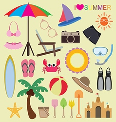 set of beach icons vector image vector image