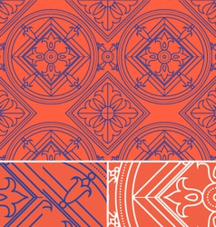 vintage abstract floral orange seamless pattern vector image vector image