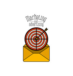 white background with paper envelope with target vector image
