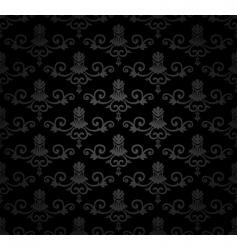 black seamless vintage floral pattern vector image vector image