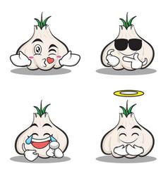 collection set of garlic cartoon character vector image vector image