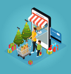 isometric winter holiday online shopping concept vector image vector image