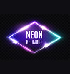 night club neon rhomb 3d rhombus light sign vector image vector image