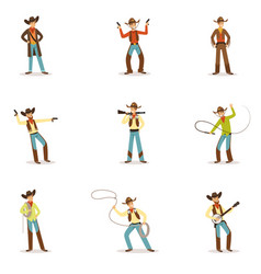 north american cowboy with different accessories vector image