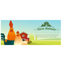 rural landscape background with chicken vector image vector image