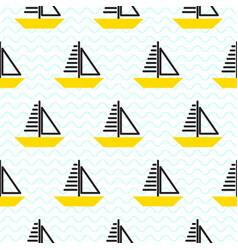 sailing ship seamless kid pattern in vector image vector image