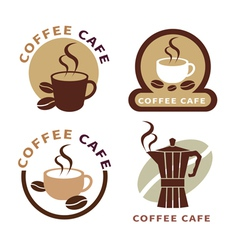 set of icon on coffee element vector image