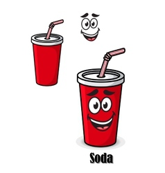 Soda drink in a red takeaway cup with straw vector image