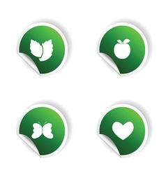 sticker of plant and heart in green vector image vector image