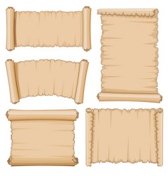 blank cartoon old scrolls of papyrus paper vector image