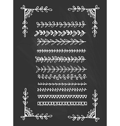 Chalkboard hand drawn line borders collection vector