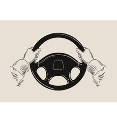 driver holding car steering wheel graphic vector image