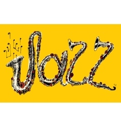 JAZZ Concept Music Engraved Hand Drawn Sketch vector image vector image