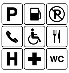 parking sign set vector image vector image