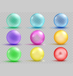 set of transparent and opaque colored spheres vector image vector image