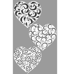 Three hearts from curls vector image vector image