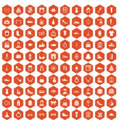 100 vogue icons hexagon orange vector