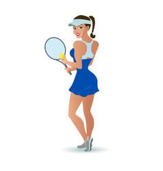 beautiful cartoon woman tennis player vector image vector image