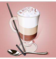 iced coffee in a glass with a straw vector image vector image