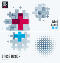 abstract design elements with cross vector image
