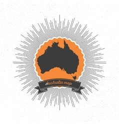 Australia map with vintage style star burst retro vector
