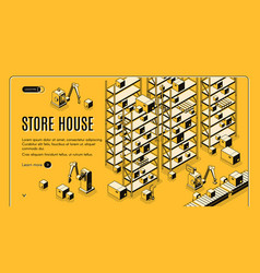 automated storehouse isometric web banner vector image