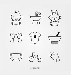 baby boy and girl logo set vector image