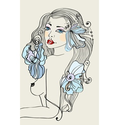 Beautiful colorful female with flowers vector