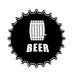 Black beer cap emblem icon image vector