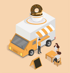 black coffee cup with donut van isometric concept vector image