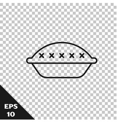 Black line homemade pie icon isolated on vector