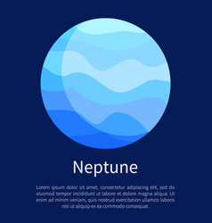 Blue neptune planet vertical informative poster vector