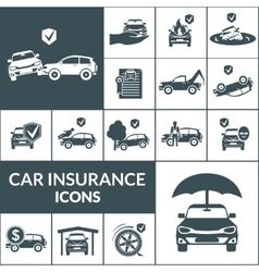 Car Insurance Icons Black vector image