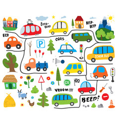 Cars cartoon set cute transport doodles collection vector