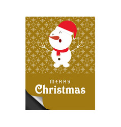 chrismtas card with snowman and pattern background vector image