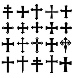 christian crosses icons set vector image