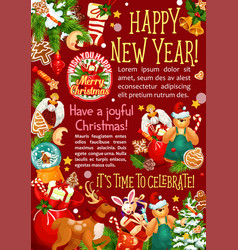 christmas and new year holiday greeting poster vector image