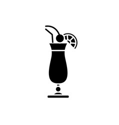 cocktail on the beach black icon sign on vector image
