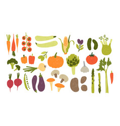collection of colorful hand drawn fresh delicious vector image