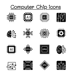 Computer chips and electronic circuit icon vector