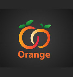 Couple ring fruit orange logo design inspiration vector
