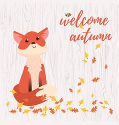 cute cartoon fox card vector image