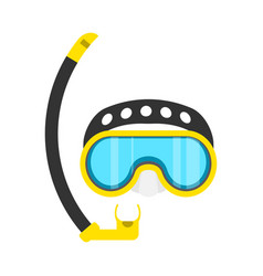 Diving mask yellow snorkeling leisure adventure vector