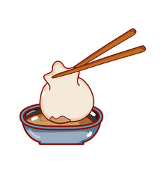 Dumpling in with sauce food japanese menu cartoon vector